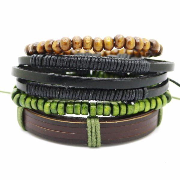 Stylový kožený náramek Fashion A5 zelený