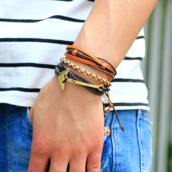 Módní kožený náramek Fashion A7 s kotvou
