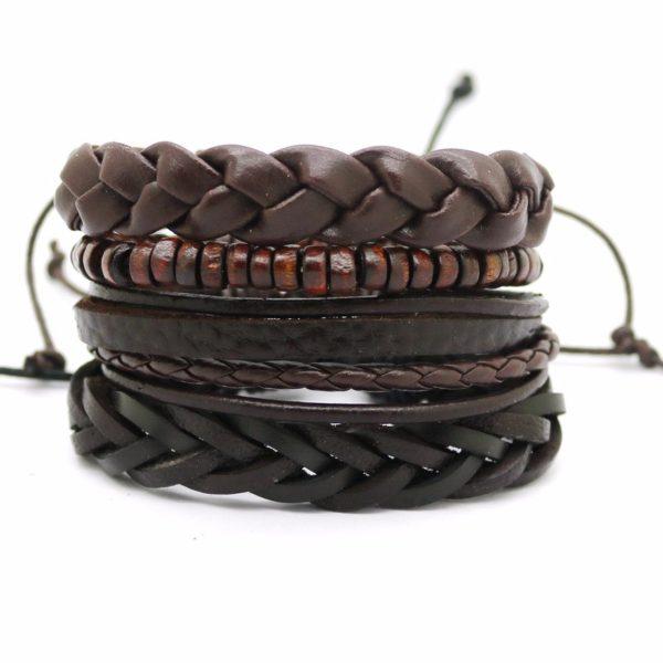 Pletený kožený náramek Fashion A9 hnědý
