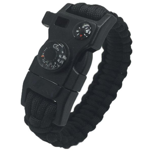 Outdoorový náramek Paracord FervorFOX 15 v 1 černý