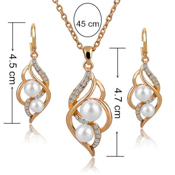 zlaté náušnice a náhrdelnik RE14024 s perlou rozměry