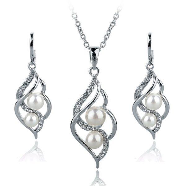 Zlaté náušnice a náhrdelník WE4084 s bílou perlou