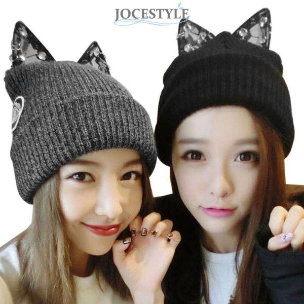 Dámská zimní čepice s kočičíma ušima a kamínky