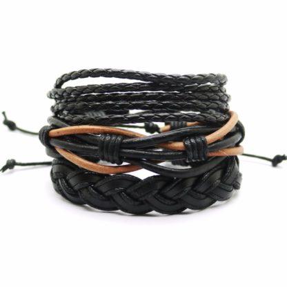 Pletený kožený náramek A1 černý