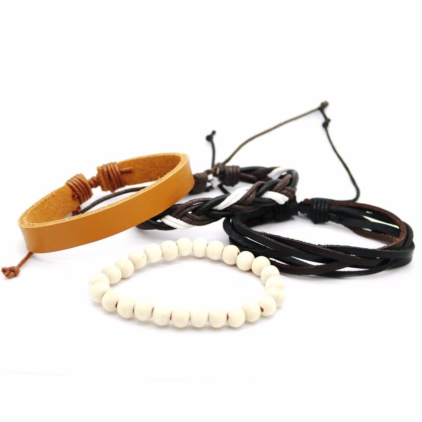 Pletený kožený náramek Fashion A10 bílý