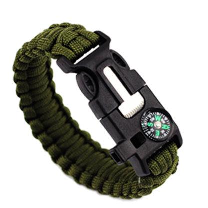 Outdoorový náramek Paracord AOTU 5 v 1 zelený
