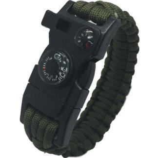 Outdoorový náramek Paracord FervorFOX 15 v 1 zelený