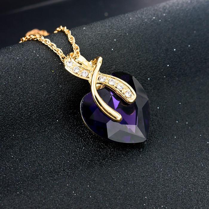 Náhrdelník a náušnice Szela SE1444 s fialovým krystalem