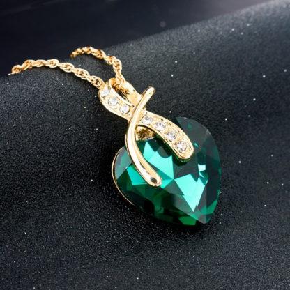 Náhrdelník a náušnice Szela SE1444 s zeleným krystalem