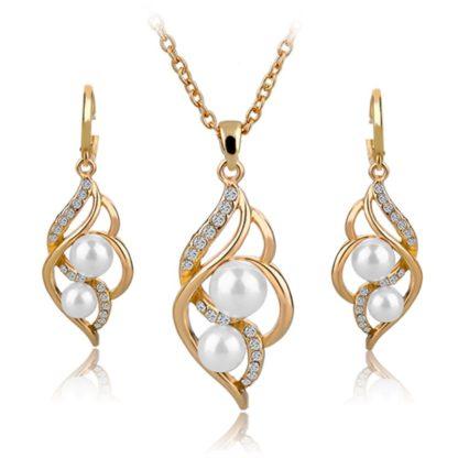 Zlaté náušnice a náhrdelník RE14024 s bílou perlou