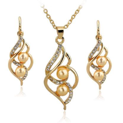 Zlaté náušnice a náhrdelník RE14024 se žlutou perlou