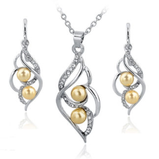 Zlaté náušnice a náhrdelník WE4084 se žlutou perlou