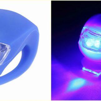 Malé silikonové osvětlení na kolo modré
