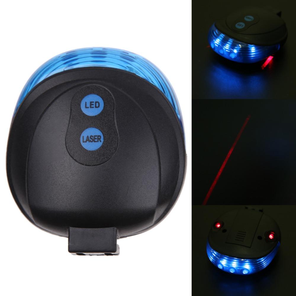 Zadní LED světlo na kolo s laserem modré