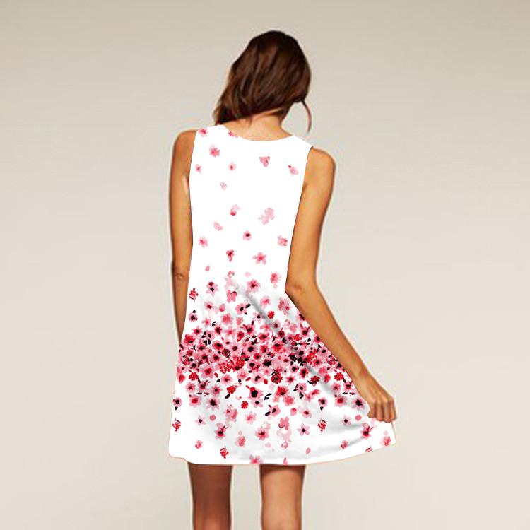 Barevné dámské letní šaty s potiskem MK-A1-09 bez rukávu