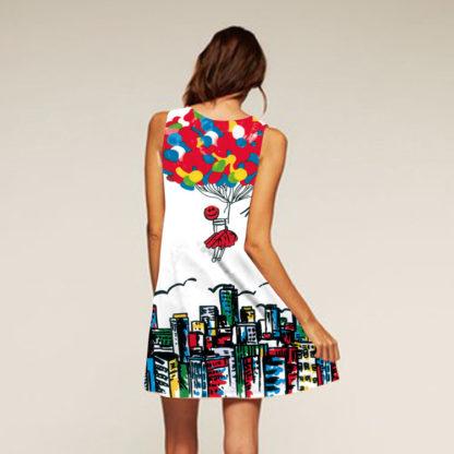 Barevné dámské letní šaty s potiskem MK-A1-12 bez rukávu