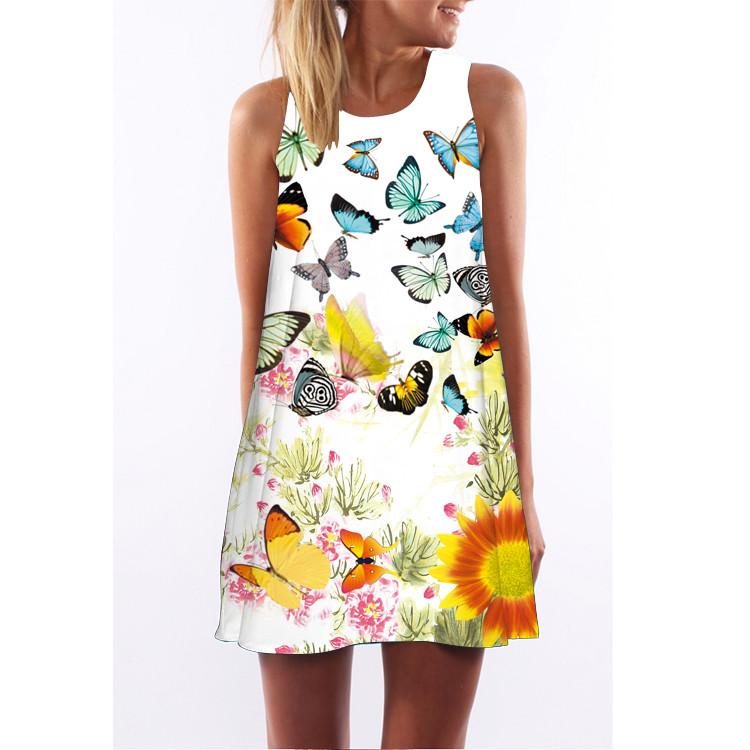 Barevné dámské letní šaty s potiskem MK-A1-20 bez rukávu