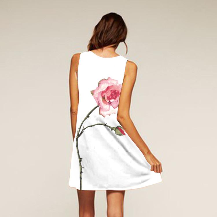 Barevné dámské letní šaty s potiskem MK-A1-21 bez rukávu