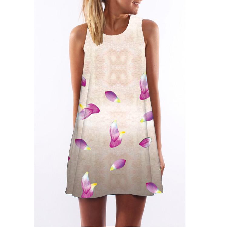 Barevné dámské letní šaty s potiskem MK-A1-22 bez rukávu