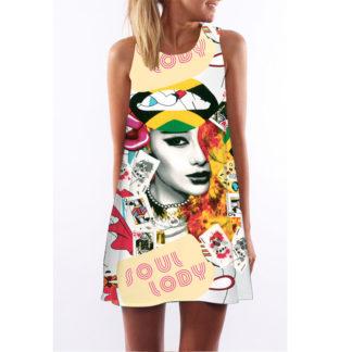 Barevné dámské letní šaty s potiskem MK-A1-82 bez rukávu