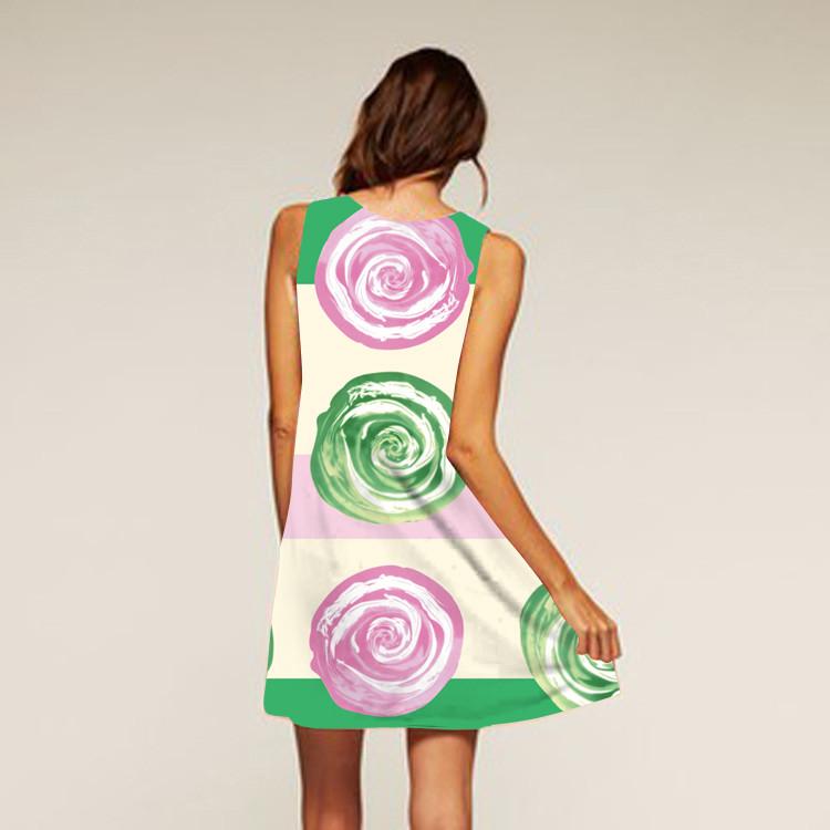 Barevné dámské letní šaty s potiskem MK-A1-89 bez rukávu