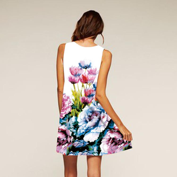 Barevné dámské letní šaty s potiskem MK-A1-92 bez rukávu 023fdf5bd1