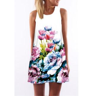 Barevné dámské letní šaty s potiskem MK-A1-92 bez rukávu