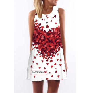 Barevné dámské letní šaty s potiskem MK-B1-07 bez rukávu