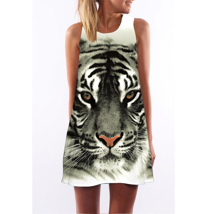 Barevné dámské letní šaty s potiskem MK-B1-10 bez rukávu