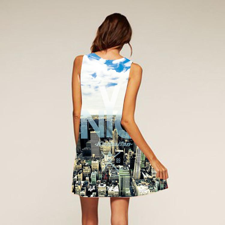 Barevné dámské letní šaty s potiskem MK-B1-15 bez rukávu