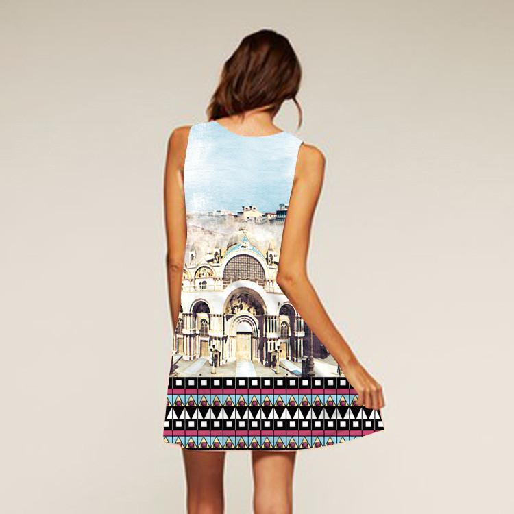 Barevné dámské letní šaty s potiskem MK-B1-28 bez rukávu