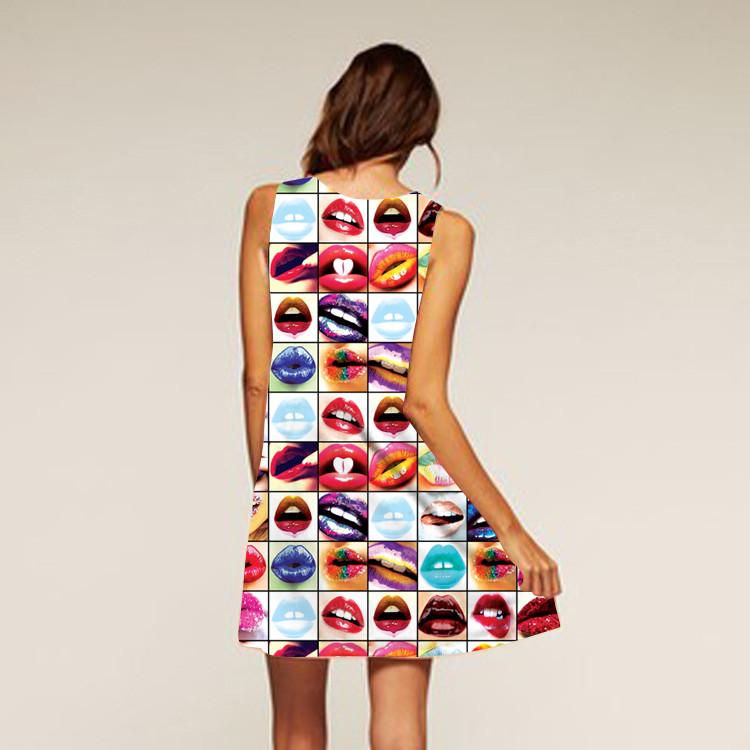Barevné dámské letní šaty s potiskem MK-B1-42 bez rukávu