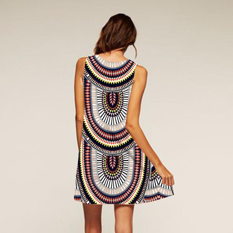 Barevné dámské letní šaty s potiskem MK-B1-53 bez rukávu