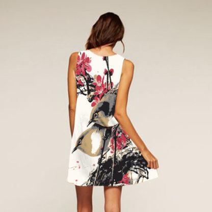 Barevné dámské letní šaty s potiskem MK-B1-63 bez rukávu