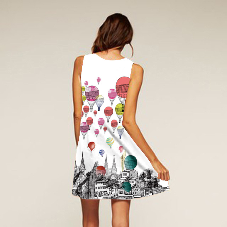 Barevné dámské letní šaty s potiskem MK-B1-76 bez rukávu
