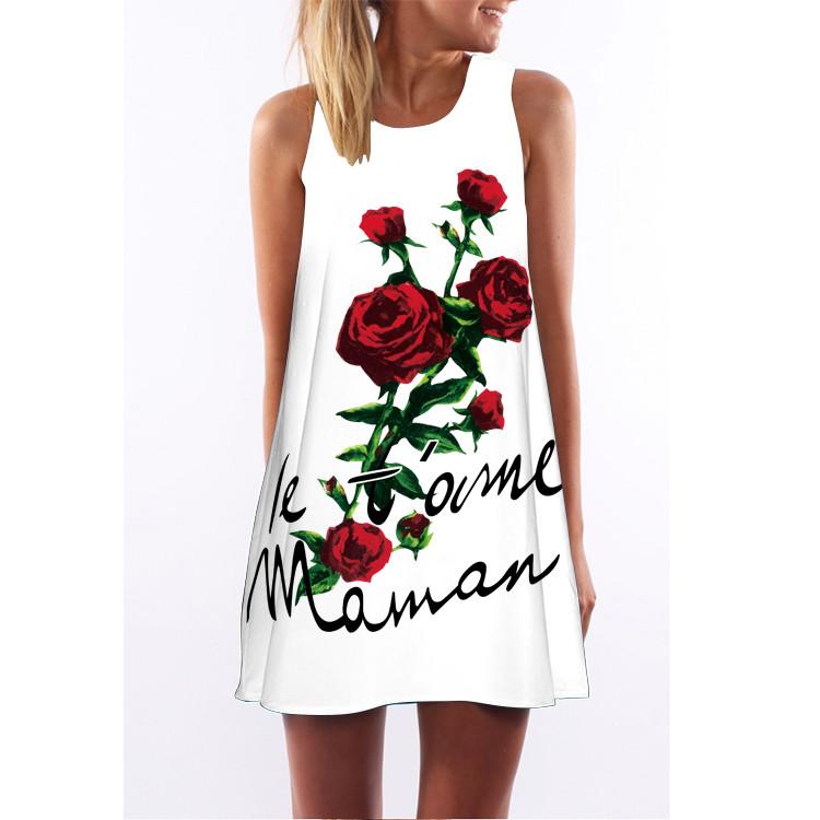 Barevné dámské letní šaty s potiskem MK-C1-44 bez rukávu