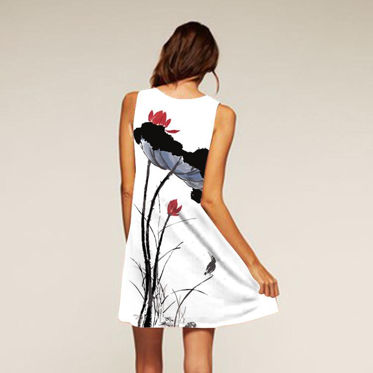 Barevné dámské letní šaty s potiskem MK-C1-71 bez rukávu