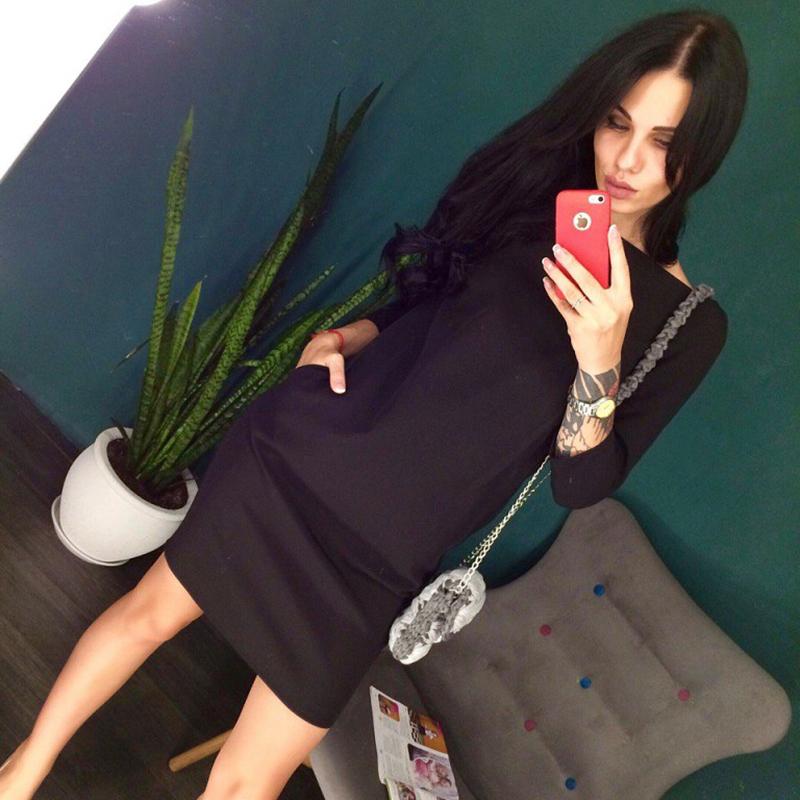 Dámské sexy šaty s třičtvrtečním rukávem černé