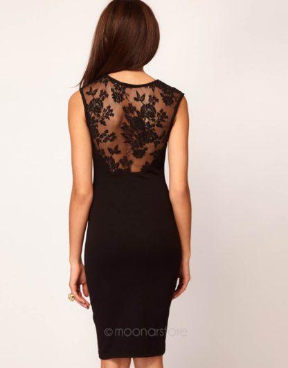 Elegantní dámské šaty bez rukávu se siťkou černé