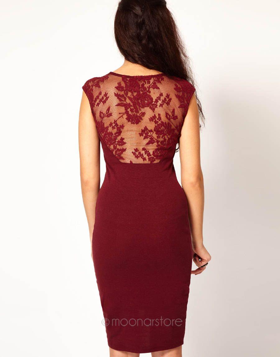 Elegantní dámské šaty bez rukávu se siťkou červené