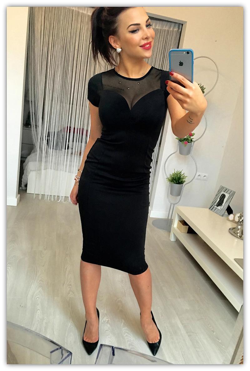 Elegantní dámské šaty s krátkým rukávem černé