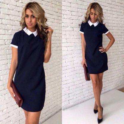 Elegantní šaty s límečkem a s krátkým rukávem modré