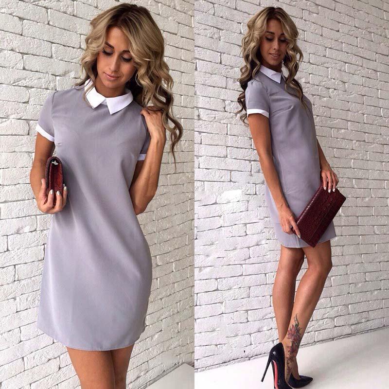 Elegantní šaty s límečkem a s krátkým rukávem šedé