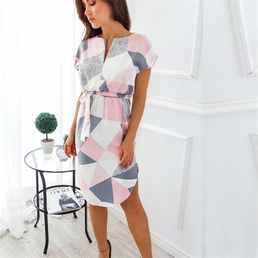 Letní šaty s krátkým rukávem a s páskem v pase růžové