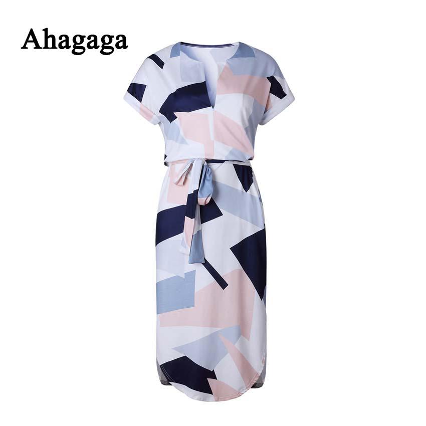 Letní šaty s krátkým rukávem a s páskem v pase šedé