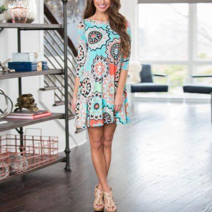 Skvělé letní šaty s ornamenty tříčtvrteční rukáv modré