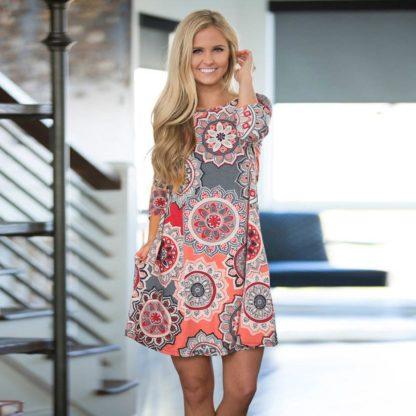 Skvělé letní šaty s ornamenty tříčtvrteční rukáv růžové