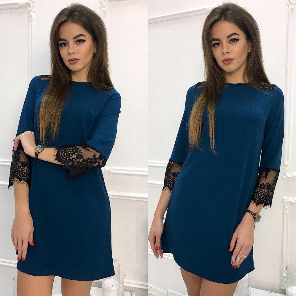 Stylové šaty s krajkou a s dlouhým rukávem modré