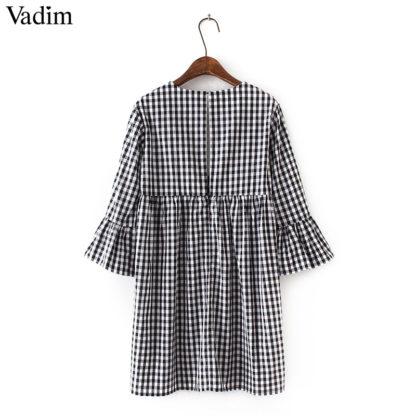 Elegantní dámské šaty Vadim QZ31 výstřih do V černo bílé