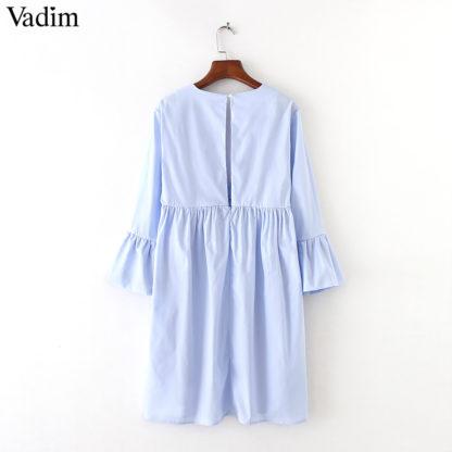 Elegantní dámské šaty Vadim QZ35 výstřih do V modré